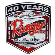 Ranger Boat Badge Decal 7616128 | 4 1/8 X 4 7/8 Inch Silver Red Black