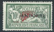 France Andorra Stamps 21 Yt 22 10fr Green And Red Mlh F/vf 1931 Scv 300.00