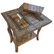 Mosaic Wood Inlaid With Touch Of Mother Of Pearl Folding Game Table