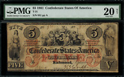 T-31 5 1861 Confederate Currency Csa - Graded Pmg 20 Net - Very Fine