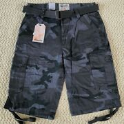 Nwt Menand039s Ablanche Black Gray Camouflage Camo Belted Cargo Shorts All Size 30-42