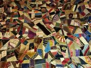 Antique 19th C 1800s Crazy Quilt Folk Art Hand Embroidered Blanket Early Patch
