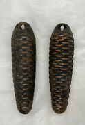 Lot Of 2 Cast Iron Cuckoo Clock Weights 1200 Grams Clock Parts 6-3/8andrdquo Tall