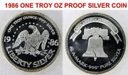 1986 A-mark Mint Proof Liberty Bell And Eagle 1 Troy Oz Fine Silver Round Coin