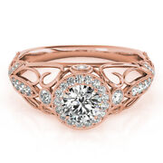 Natural Diamond Excellent Cut 1.00 Ct 14k Rose Gold Engagement Ring Size 5 6 7 8