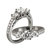 Solid 14k White Gold 1.02 Ct Real Diamond Engagement Ladies Rings Set Size 6 7 8