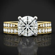 Solid 14k Yellow Gold 0.85 Ct Natural Diamond Engagement Women Band Set Size 7 8