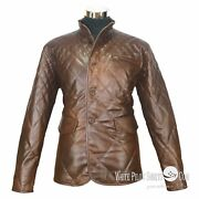 New Leather Jacket For Men Quilt Vintage Antique Buttons Wax Check Lining Gents