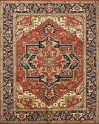 Tribal Heriz Serapi Rug 8and039x10and039 Rust/blue Hand-knotted Wool Pile