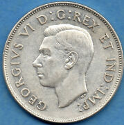 Canada 1947 Ml 50 Cents Fifty Cents Silver Coin - Ef Lightly Cleaned