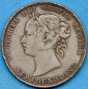 Canada Newfoundland 1885 50 Cents Fifty Cents Silver Coin - F/vf