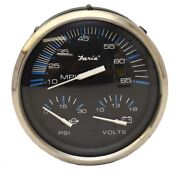 Faria Boat Multifunction Gauge Gs1012a   Chesapeake Black Ss 3-in-1
