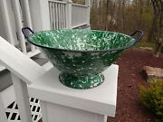 Antique Emerald Green White Swirl Colander Graniteware Enamelware
