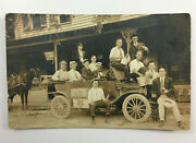 Rppc Men Drinking Ballantine And Pabst Beer In Car With Beer Crates And Signage