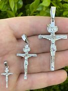 Real Solid 925 Sterling Silver Mens Cross Jesus Piece Crucifix Pendant Necklace