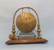 English Antique Country House Butlers' Table Gong. Oak And Brass. Original.