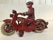 1930's Harley Davidson Motorcycle Cast Iron Toy