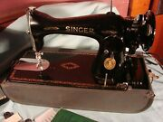 Vintage Singer Sewing Machine 15-91, Ak186775, 1951 In Case Booklet, Extra Parts