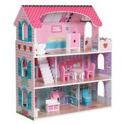 Pink Large Wooden Dollhouse Barbie Doll House W/furniture Pretend Play Home Kids