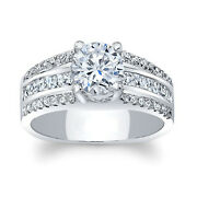 Round Cut Moissanite 1.41 Ct 14k White Gold Solitaire Beautiful Rings Size 4 5 6