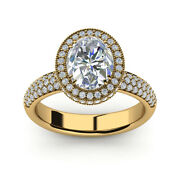 Oval Cut 2.12 Ct Moissanite Diamond Solid 14k Yellow Gold Ladies Ring Size 4 5 6