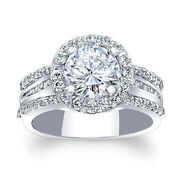 Round Cut Solid 14k White Gold 1.88 Ct Moissanite Women Engagement Ring Size 7 8