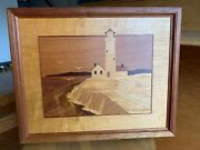 Jeff Nelson Wood Inlay Marquetry 'light House, Cliff And Gulls' 13 X 16 Excellent