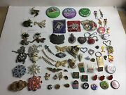 Junk Drawer Brooches Pins Charms Monet D Orlan Disney Gold Tone Gems Lot Of 78