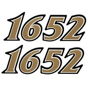 G3 Boat Number Decal 73404679 | 4 3/4 X 1 1/2 Inch Gold Black 1652