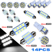 14x Combo Led Car Interior Inside Light Dome Map Door License Plate White Us