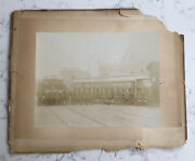 Antique Matted Photograph Electric Street Railway Railroad Conductors Train