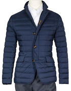 Moorer Quilted Jacket With Down Fill In Dark Blue Regeur890