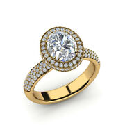 Oval Cut 2.12 Ct Moissanite Solitaire 14k Yellow Gold Proposal Ring Size 7 8 9.5