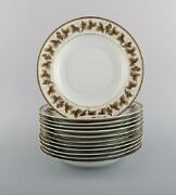 12 Limoges Porcelain Deep Plates With Hand-painted Grape Vines. 1930and039/40and039s