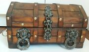 Pirate Treasure Chest Vintage Wooden Jewelry Box W/ Metal Lion Head Ring