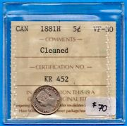 Canada 1881 H 5 Cents Five Cent Small Silver Coin - Iccs Vf-30 Cleaned