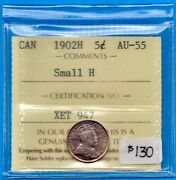 Canada 1902 H Small H 5 Cents Five Cent Small Silver Coin - Iccs Au-55