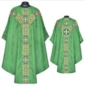 Priest St. Andrews Chasuble Green Gothic Vestment And Stole Casulla