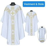 Pastor Priest St. Andrews Chasuble White Gothic Vestment And Stole Set
