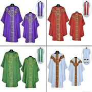 Priest Pastor Gothic Chasubles Set Of 4 - Vestment And Stole Sets