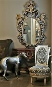 Huge And Rare Antique Ornate Carved Wood French Mirror Birds Chinoiserie 67