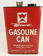 Vintage Western Auto Wizard Gasoline Red Can Advertising Ad Display Gas 1 Gallon