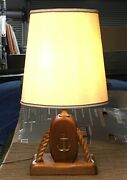Mid Century Nautical Table/ Desk Lamp W/ Pulley+rope+wood Base Vintage