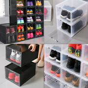 Magnetic Drop Front Shoe Storage Box Stackable Sneaker Large Container Plastic