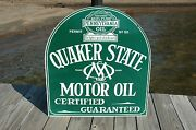 Old Style Quaker State Motor Oil Gas Tombstone 1 Sided Sign Made In Usa