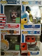 Lot Of 4 Funko Pops-inside Out-anger Joy Peanuts Snoopy Walking Dead Exclusives