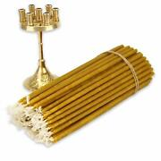 Seven Candle Brass Candle Holder + 100 Pcs Pure Beeswax Orthodox Church Candles