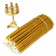 Seven Candle Brass Christian Candlestick + 100 Pure Beeswax Church Taper Candles