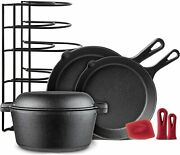 Cast Iron Cookware 5 Pc Set 10 + 12 Skillet 5 Q Dutch Oven Pan Rack Hdl Covers