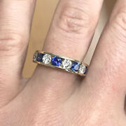 2.1 Ctw Blue Sapphire And Diamond Solid 14k Yellow Gold Channel Wedding Ring 5 Mm